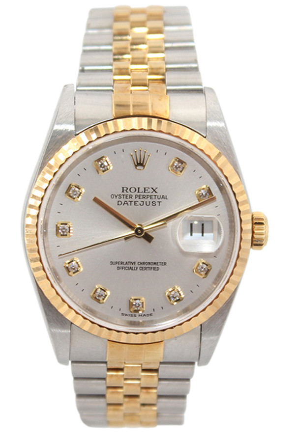 647ee8ccf1341 Rolex Oyster Perpetual Datejust - 36mm - Two Tone - Silver Diamond Dial -  Fluted Bezel