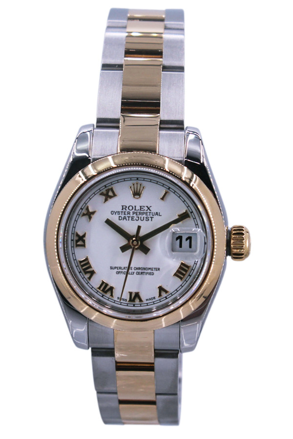 e1eb0dedf6f4 Rolex Oyster Perpetual Lady Datejust - 26mm - Two Tone - Smooth Bezel -  White Roman
