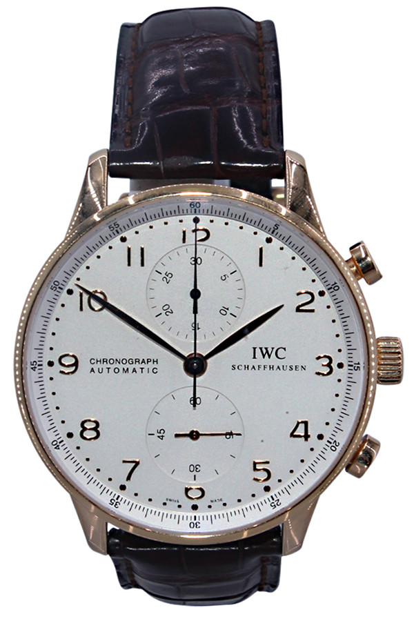 IWC - Portuguese  - 40mm - 18k Yellow Gold - White Arabic Dial - Chronograph - Automatic - Ref. IW371480