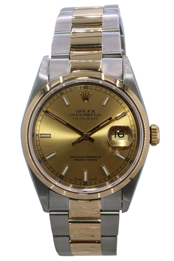 80bfbc1bd9fd0 Rolex Oyster Perpetual Datejust - 36mm - Two Tone - Champagne Stick Dial -  Smooth Bezel