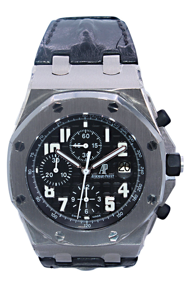 Audemars Piguet Royal Oak Offshore - 42mm - Stainless Steel - Black Arabic - Leather Strap - Chronograph - Automatic - Ref. 26170ST.OO.D101CR.03