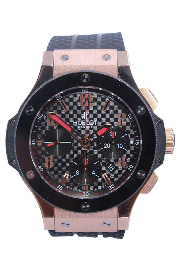 Hublot Big Bang Watch - 41mm - 18k RG - Black Ceramic Bezel - Black Carbon Dial - Chronograph - Rubber Strap - Ref.  341.PB.131.RX