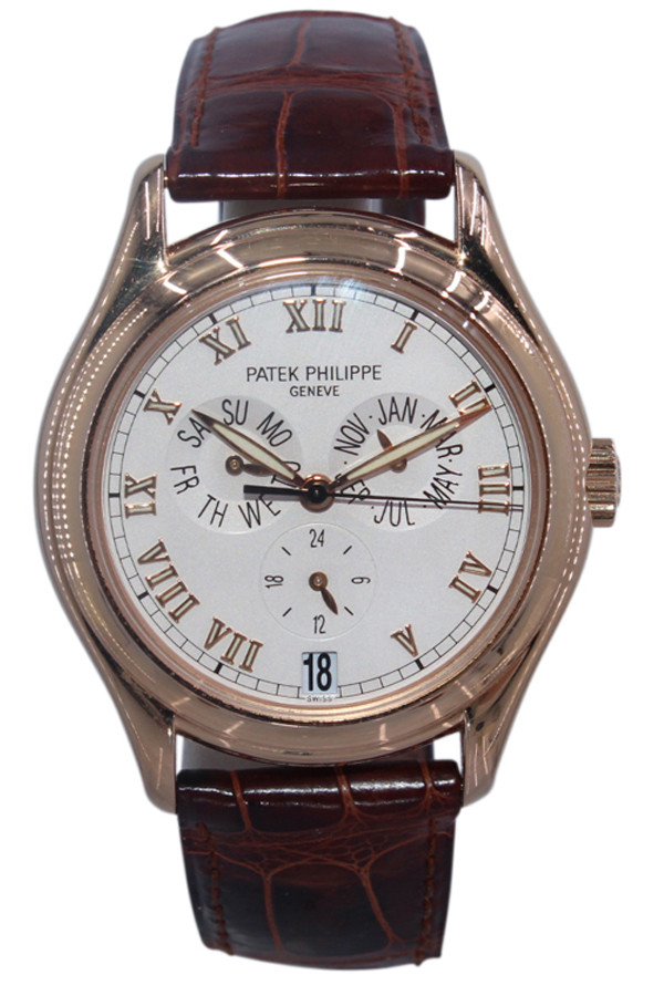 Patek Philippe - Complications Annual Calendar - 37mm - 18k Rose Gold - Ivory Roman Dial - Brown Leather Strap - Ref. 5035R