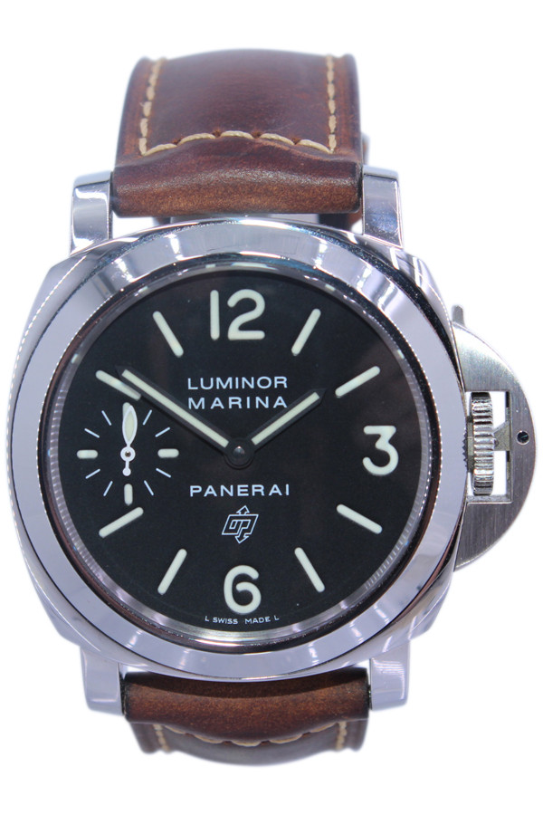 Panerai Luminor Marina Logo - 44mm - Stainless Steel - Smooth Bezel -Black Dial -  Manual Wind - Ref. Pam 005