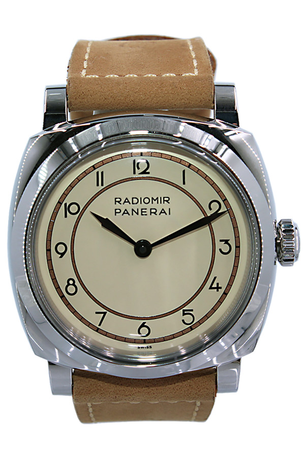 Panerai Radiomir 1940 - 47mm - Stainless Steel - Steel Bezel - Beige Arabic Dial - Manual Wind - Leather  Strap - Pam 791 Limited ed 307/500