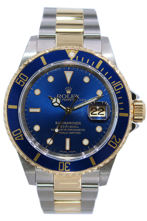 Rolex Oyster Perpetual Submariner Date , 40mm , Two Tone , Blue Bezel ,  Blue Dial , Ref. 16613 (Item  14182)