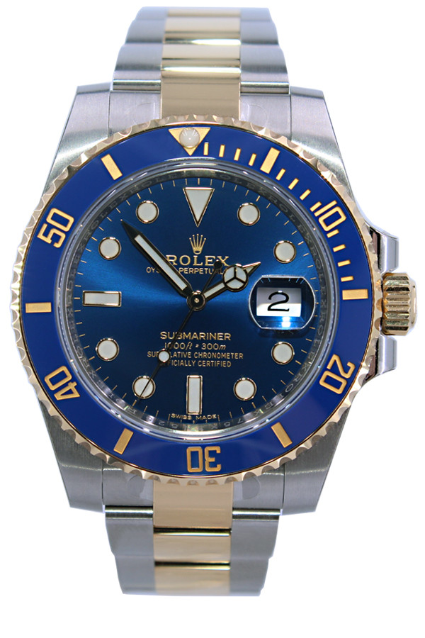 Rolex Oyster Perpetual Submariner Date , 40mm , Two Tone , Blue Ceramic  Bezel , Blue Dial , Ref. 116613 (Item  14536)
