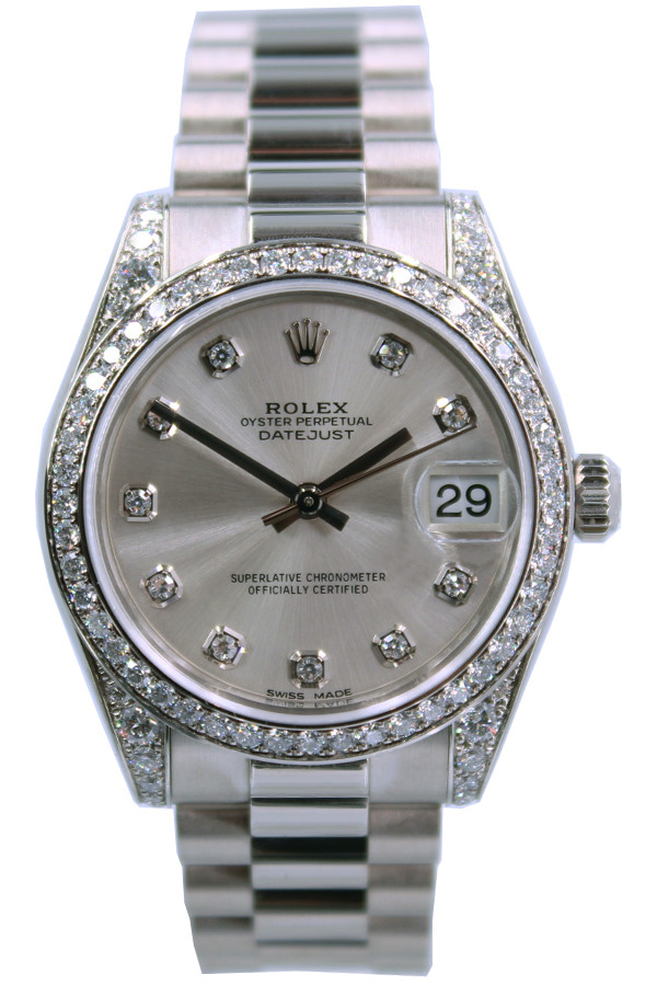 Rolex Oyster Perpetual Datejust , 31mm , White Gold , Diamond Bezel ,  Mother of Pearl Dial , President Bracelet , Ref. 178159
