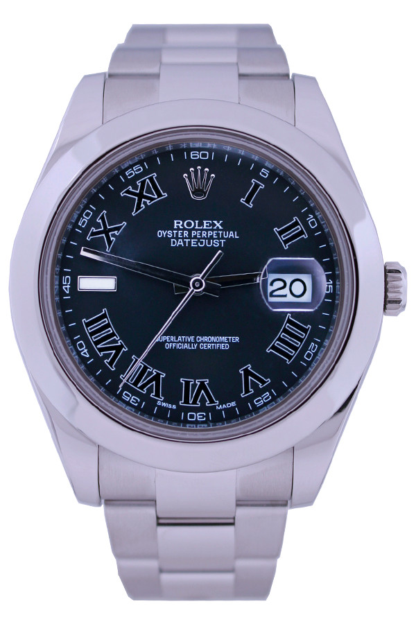 Rolex Oyster perpetual Datejust - 41mm - Stainless Steel - Smooth Bezel - Blue Roman Dial - Oyster Bracelet - Ref. 116300