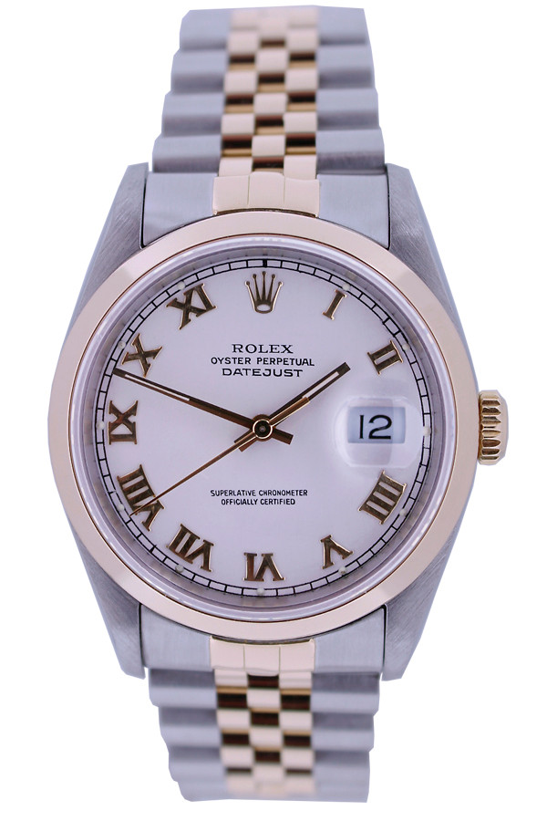 Rolex Oyster Perpetual Datejust - 36mm - Stainless Steel - 18k Yellow Gold Smooth Bezel - White Roman Dial - Two-Tone Jubilee Bracelet - Ref.  16233