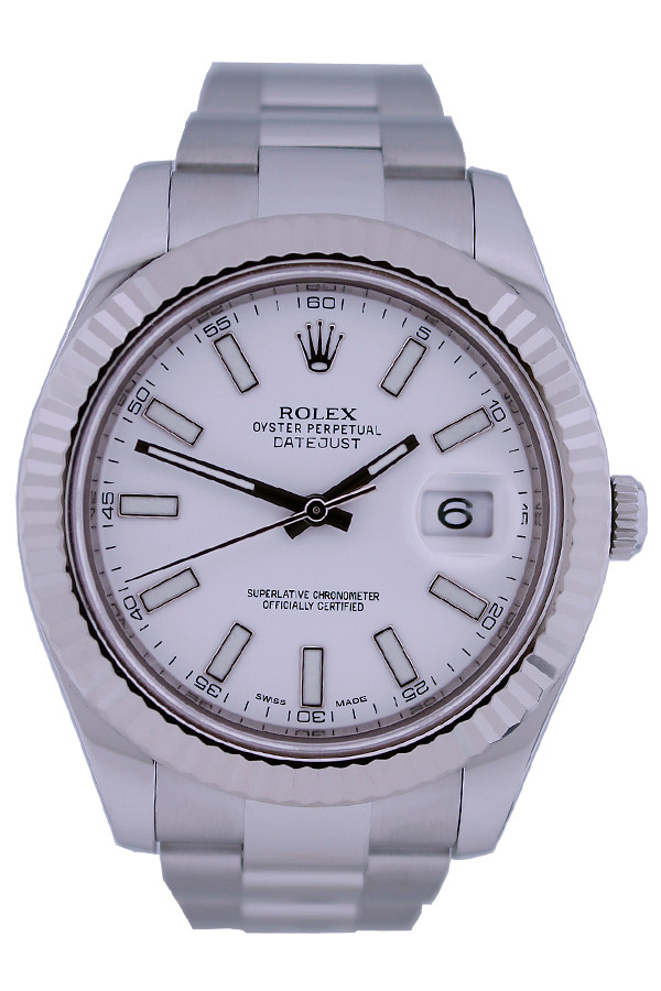 Rolex Oyster Perpetual Datejust - 41mm - Stainless Steel - Fluted Bezel - White Index Dial - Oyster Bracelet - Ref. 116334