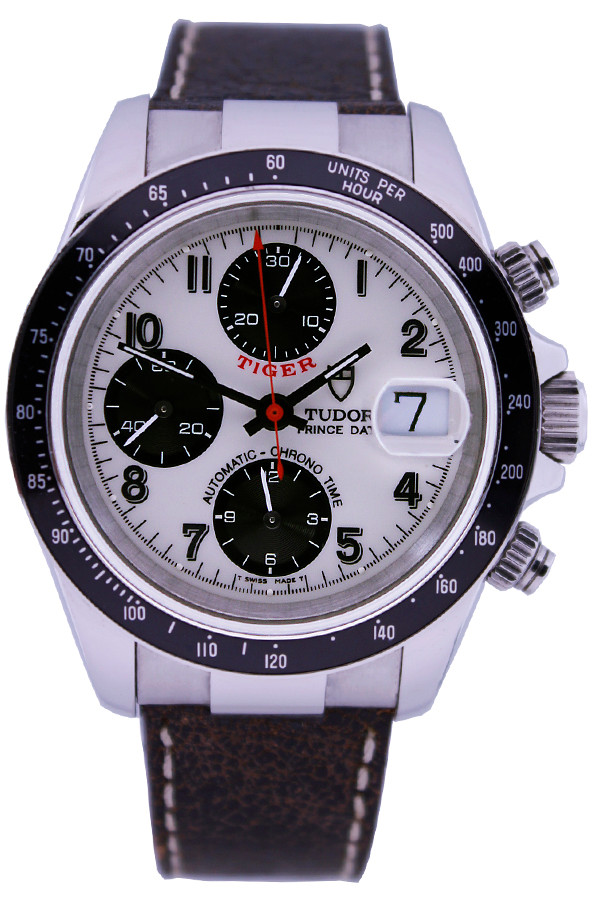 Tudor Tiger Prince - 40mm - Stainless Steel - Black Bezel - Arabic White Dial - Brown Leather Strap - Ref. 79260P