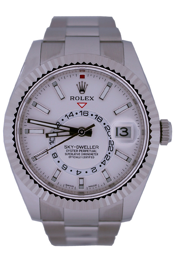 Rolex Oyster Perpetual Sky-Dweller - 42mm - White Rolesor - 18k White Gold Fluted Bezel With Bidirectional Rotatable Rolex Ring Command - White Dial -Stainless Steel  Oyster Bracelet - Ref. 326934