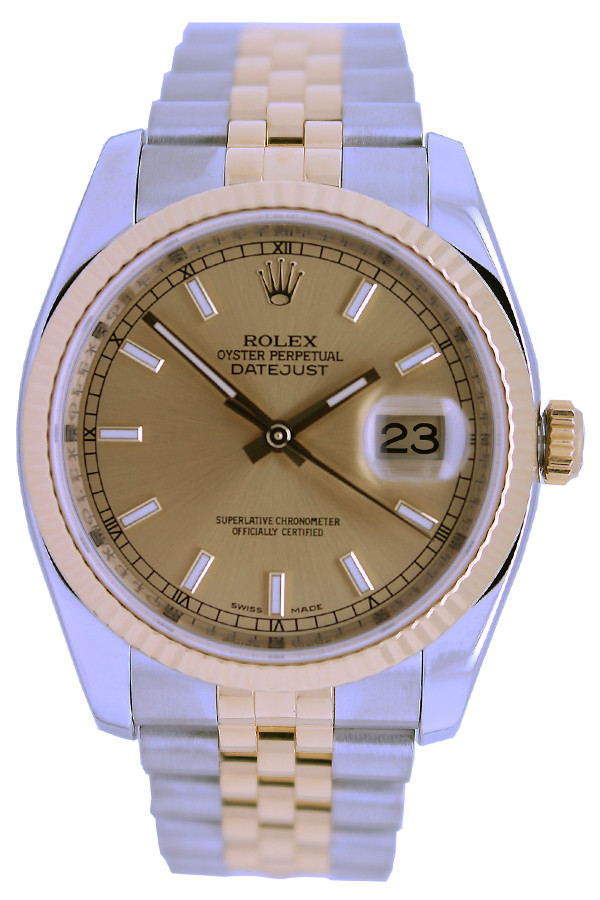 Rolex Oyster Perpetual Datejust - 36mm - Stainless Steel - Yellow Gold Fluted Bezel - Champagne Index Dial - Two-Tone Jubilee Bracelet - Ref. 116233
