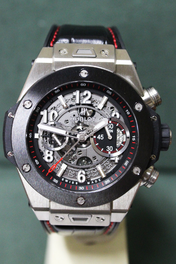 Hublot Big Bang Titanium Ceramic Skeletal - 45mm - Titanium - Black High Polished Ceramic - Skeleton Dial - Black Leather Strap - Ref. 411NM1170RX