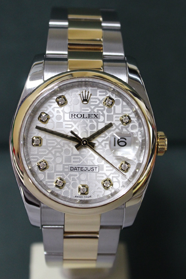 Rolex Oyster Perpetual Datejust - 36mm - Two-Tone - Yellow Gold Smooth Bezel - White Anniversary Diamond Dial - Two-Tone Stainless Steel And Yellow Gold Oyster Bracelet - Ref. 116203