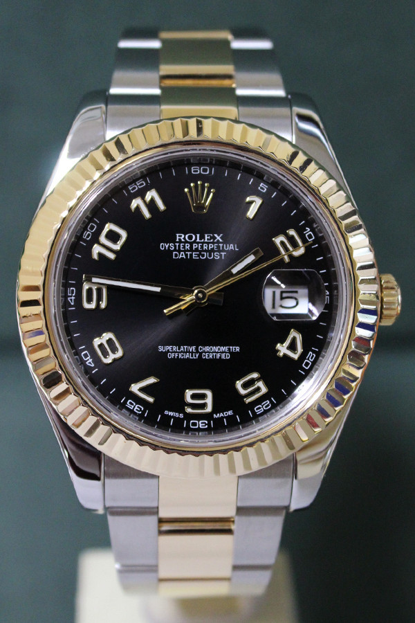 Rolex Oyster Perpetual Datejust II - 41mm - Two-Tone - Yellow Gold Fluted Bezel - Black Arabic Dial - Two-Tone Stainless Steel And Yellow Gold Oyster Bracelet - Ref. 116333