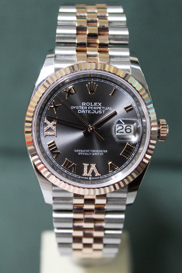 Rolex Oyster Perpetual Datejust - 36mm - Two-Tone - Rose Gold Fluted Bezel - Slate Roman Dial - Two-Tone Stainless Steel And Rose Gold Jubilee Bracelet - Ref. 126231