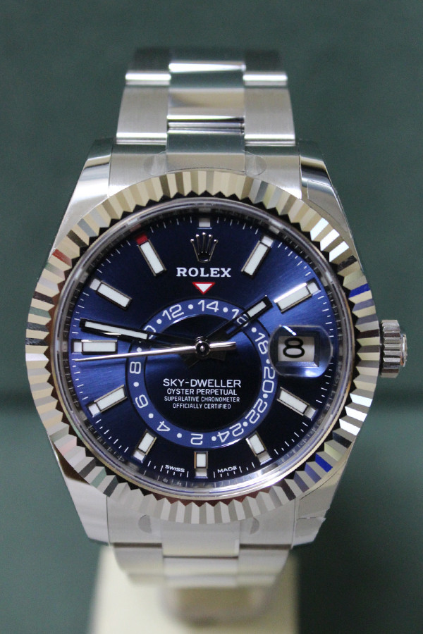 Rolex Oyster Perpetual Sky-Dweller - 42mm - Stainless Steel - Rotatable Fluted Bezel - Blue Dial - Oyster Bracelet - Ref. 326934