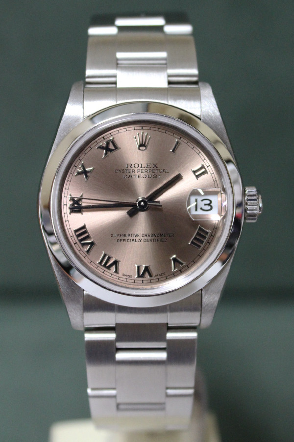 Rolex Oyster Perpetual Mid-Size Datejust - 31mm - Stainless Steel - Smooth Bezel - Salmon Roman Dial - Oyster Bracelet - Ref. 78240