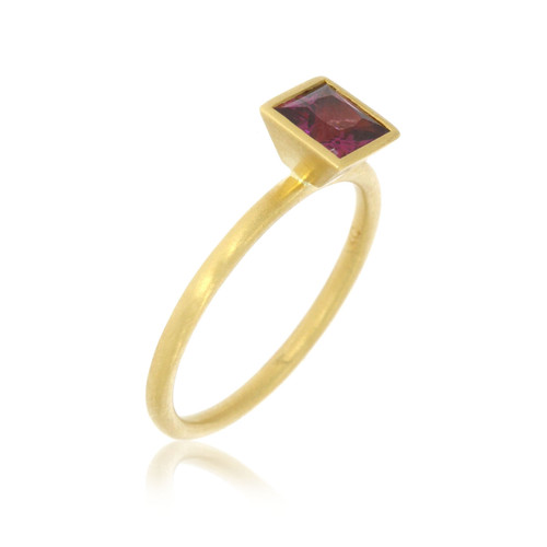18K Yellow Gold and Princess Rhodolite Garnet Yumdrop Ring