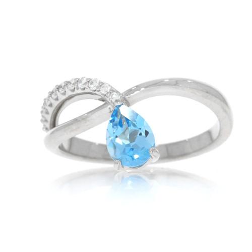 14K White Gold Swiss Blue Topaz and Diamond Criss Cross Ring