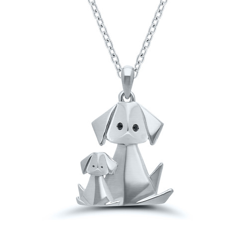 Sterling Silver Origami Dog and Puppy Pendant
