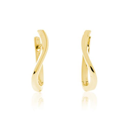 14K Yellow Curved Huggie Earrings