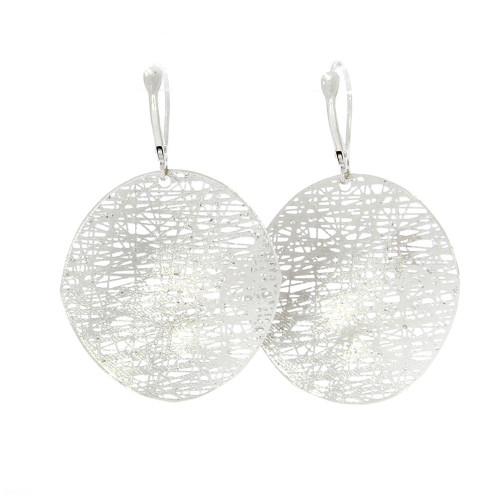 14K White Gold Mesh Dangle Earrings