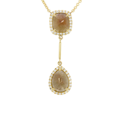 14K Yellow Gold Fancy Color Rose Cut and Round Brilliant Cut Diamond Necklace
