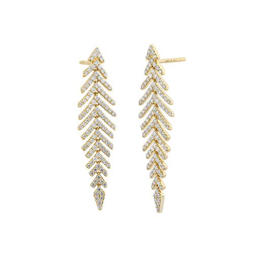 14K Yellow Gold Diamond Flexible Feather Dangle Earrings
