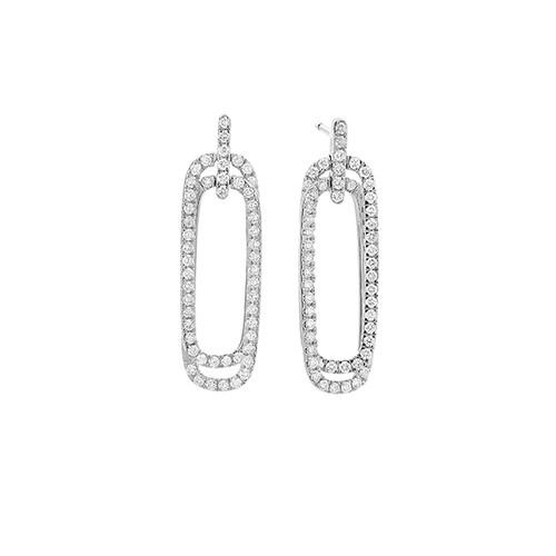 14K White Gold Diamond Double Rounded Rectangle Earrings