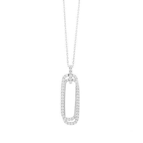 14K White Gold Diamond Double Rounded Rectangle Necklace