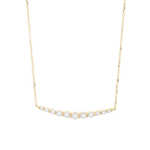14K Yellow Gold Diamond Tapered Bar Necklace
