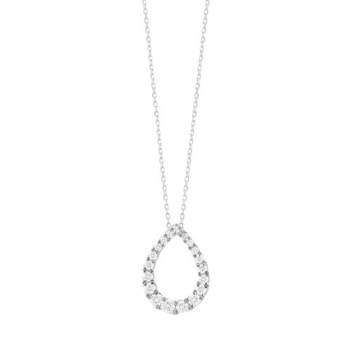 14K White Gold Diamond Tapered Tear Drop Pendant