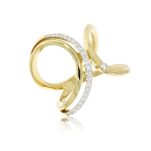 14K Yellow and White Gold Loop Ring With Diamond Accents