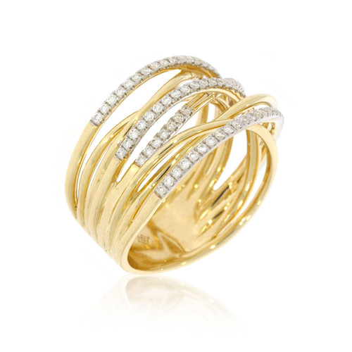 14K Yellow Gold Wrap Ring With Diamond Accents