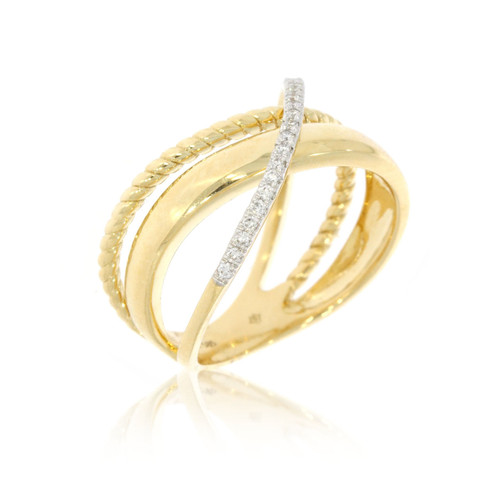 14K Yellow Gold Overlapping Twist With Diamond Accents