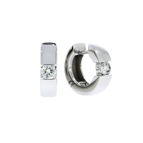 14K White Gold Huggie Earrings With Channel Set Diamond Accents