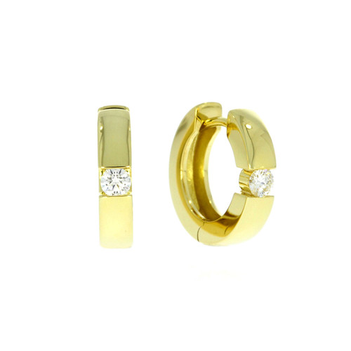 14K Yellow Gold Huggie Earrings With Channel Set Diamond Accents
