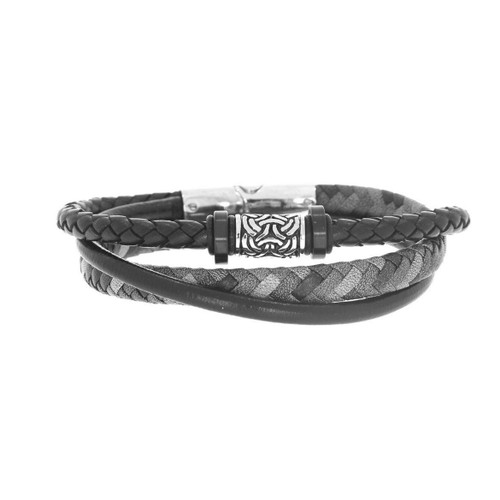 Stainless Steel Antique Finish Barrel Bead And Triple Strand Black And Grey Leather Men's Bracelet