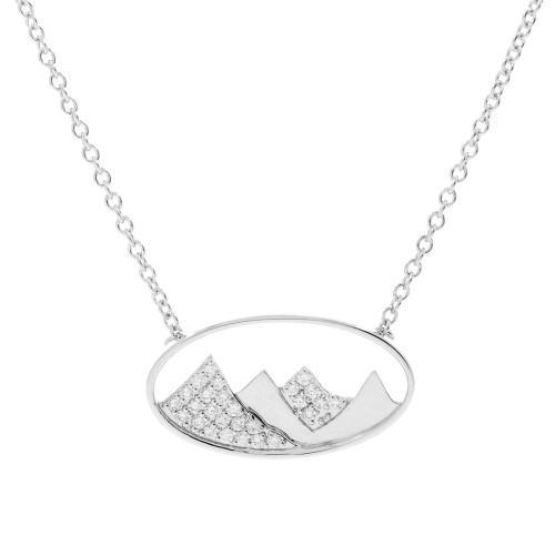 14K White Gold Oval Mountains Pendant With Diamond Accents