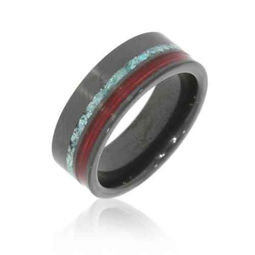 Black Ceramic, Turquoise Inlay and Cabernet Oak Barrel Aged Wood Men's Wedding Ring
