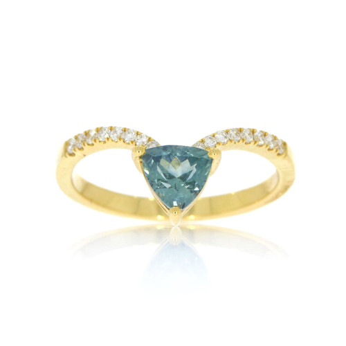 18K Yellow Gold Montana Sapphire Ring With Diamond Accents