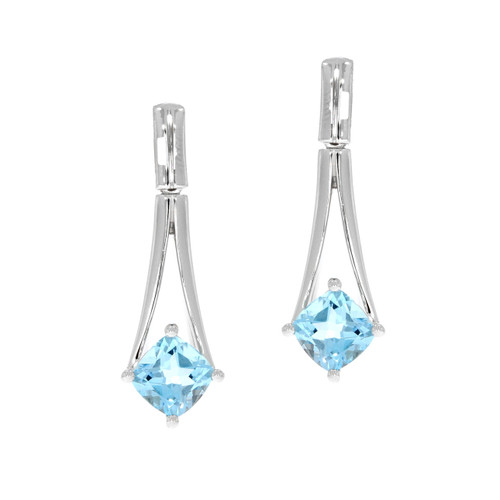 Sterling Silver Split Blue Topaz Earrings