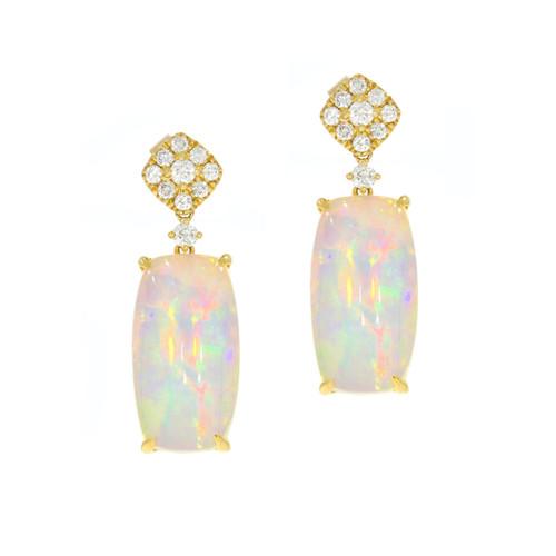 14K Yellow Gold Opal and Diamond Dangle Earrings