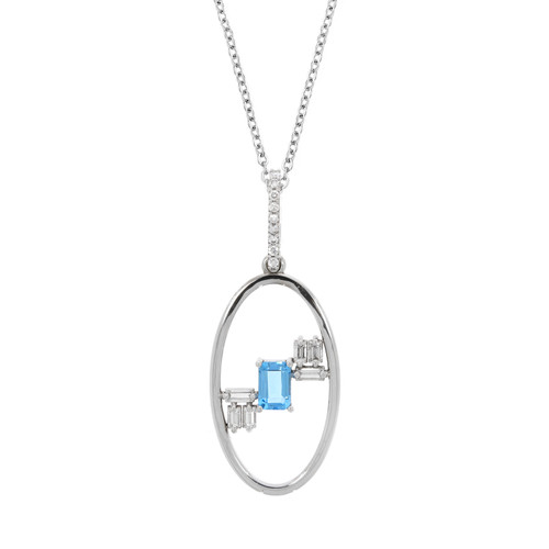 14K White Gold Blue Topaz and Diamond Oval Pendant