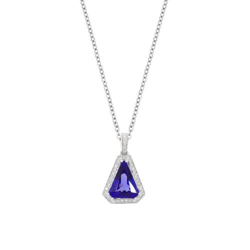 18K White Gold Triangular Tanzanite and Diamond Pendant