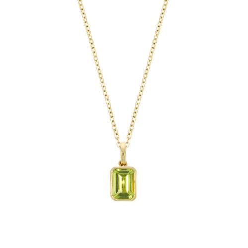 14K Yellow Gold Emerald-Cut Peridot Pendant