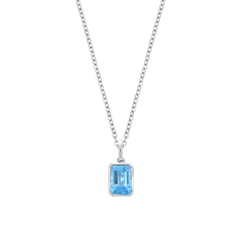14K White Gold Emerald-Cut Blue Topaz Pendant